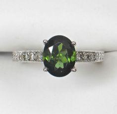 14k white gold TOURMALINE & Diamond Ring with Milgrain design from divinefind on Ruby Lane