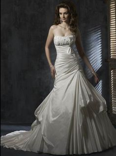 Seductive Beads Working Bow Strapless Pleated Tiered Taffeta Chapel Train Bridal Gown