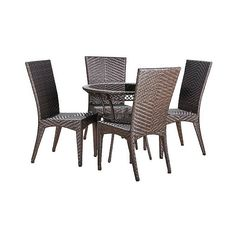 Patio Dining Set: Christopher Knight Home Josh 5-piece Wicker Patio... ($850) ❤ liked on Polyvore featuring home, outdoors, patio furniture, outdoor patio sets, brown, outdoor patio furniture, christopher knight home, outside patio furniture, outdoor furniture and brown wicker patio furniture