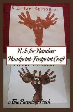 R is for Reindeer Handprint - Footprint Craft
