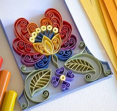Great example of flower Quilling Craft, Quilling Flowers, Quilling Patterns, Quilling Designs, Paper Quilling, Paper Flowers, Origami Cranes, Origami Art, Diy And Crafts