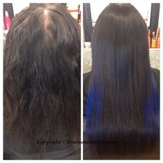 Root retouch and weave with blue highlights installed by Diamond Dolls Beauty