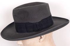e8f72d5a72e 1930s Huckel Mens Fedora Hat Wide Brimmed Hats