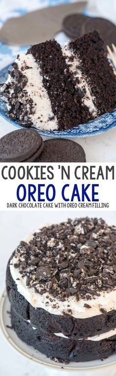 Extreme Cookies 'n Cream Cake - this cake tastes like an Oreo cookie! Dark chocolate cake layers sandwiched with a marshmallow buttercream frosting and lots of crushed Oreo cookies. # oreo Desserts Extreme Cookies 'n Cream Oreo Cake Oreo Desserts, Oreo Cake Recipes, Chocolate Desserts, Just Desserts, Baking Recipes, Dessert Recipes, Kitchen Recipes, Party Desserts, Frosting Recipes