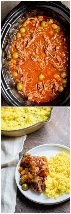 Slow Cooker Ropa Vieja (Cuban Beef) - The Magical Slow Cooker Crock Pot Recipes, Slow Cooker Recipes, Beef Recipes, Mexican Food Recipes, Cooking Recipes, Crock Pots, Ark Recipes, Hamburger Recipes, Turkey Recipes