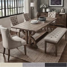 Our Best Dining Room & Bar Furniture Deals Dining Room Sets, Dining Set With Bench, Rectangle Dining Table, Dining Table In Kitchen, Dining Room Design, Dining Chairs, Side Chairs, Farmhouse Dining Room Set, Rustic Dining Set