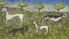 hunting dogs  Gaston Phoebus, Livre de la Chasse, Brittany ca. 1430-1440  LA, Getty, Ms. 27, fol. 30r