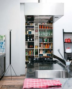 ~ Food storage + open pantry + steel counter #modern #kitchen #pantry