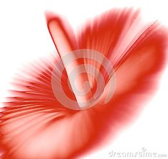 Red colored inversed mushroom on white background