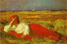 """""""Liggende kvinde i klitterne ved Skagen"""" ca. Realistic Paintings, Gras, Skagen, Impressionist, Painters, Denmark, Norway, Scandinavian, Coastal"""