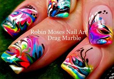 No Water Needed - Marble nail art Tutorial - - No Water Needed – Marble nail art Tutorial Pedicure DIY Regenbogennägel Tierdruck Neon Nail Art, Nail Art Diy, Easy Nail Art, Marble Nail Designs, Simple Nail Art Designs, Gel Designs, Nail Art Blog, Nail Art Videos, Diy Rainbow Nails