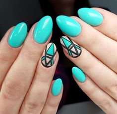 Teal geometric nail art
