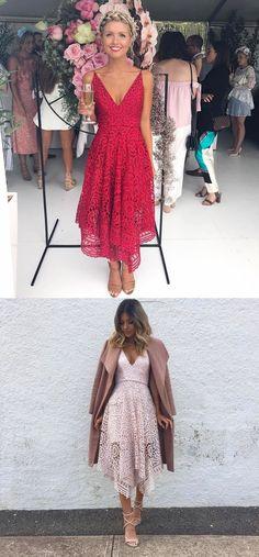 bridesmaid dresses, chic lace party dresses, sexy v-neck prom dresses,short prom dresses 2017