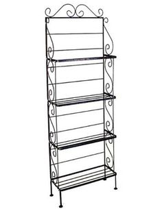 18'' W Light Weight 4-Shelf Baker's Rack by The Grace Collection. $135.99. Includes 4 wire shelves Non-marring foot glides protect floors Great for plants and displays Decorative ''S'' scrolls Several metal frame finishes available