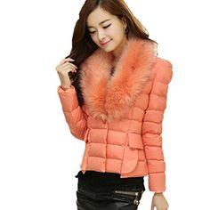 FINEJO Women Faux Fur Collar Slim Ove... (bestseller)
