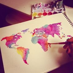 World washed in watercolor