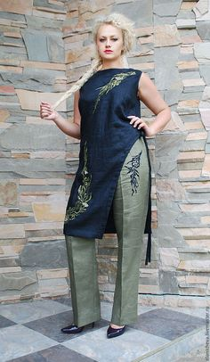 Embroidered linen suit 'Laurel branch' suit with embroidery. Online shopping on My Livemaster. African Attire, African Fashion Dresses, African Dress, Fashion Pants, Hijab Fashion, Curvy Fashion, Womens Fashion, Fashion Trends, Plus Sise