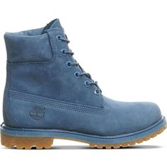 TIMBERLAND Premium 6-Inch leather boots ($240) ❤ liked on Polyvore featuring shoes, boots, blue ink nubuck, timberland shoes, timberland boots, rubber sole boots, lined boots and round toe boots