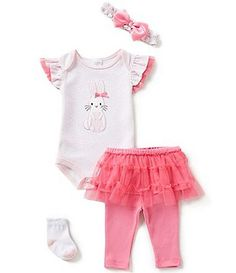 Starting Out Baby Girls Newborn-9 Months Bunny-Appliquéd 4-Piece Layette Set