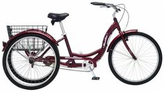 Adult Schwinn Tricycle Three 3 Wheeled Trike Mens Womens Bicycle Red Mint Green Blue Silver Grey Bike with Metal Wire Shopping Basket Beach Cruiser Dark Cherry Red by Meridian ** You can find out more details at the link of the image-affiliate link. Tricycle Bike, Adult Tricycle, Trike Bicycle, Cruiser Bikes, Bmx Bikes, Road Bikes, Cycling Bikes, Three Wheel Bicycle, Third Wheel