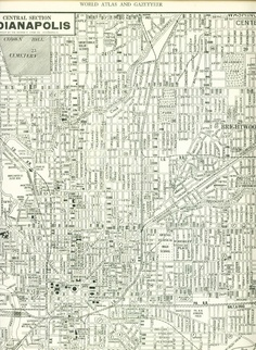 vintage map of Indianapolis