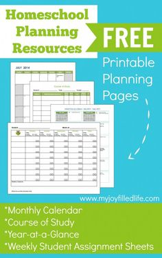 FREE Homeschool Planning Sheets