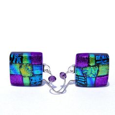 Dichroic Earrings Fused Glass Jewelry Square by IntoTheLight