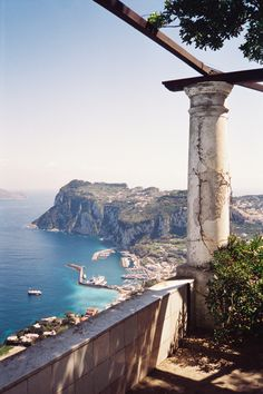 View of the harbor from villa san michele. (capri)