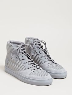 Balenciaga Mens Hi-Top Raised Leather Panel Trainers