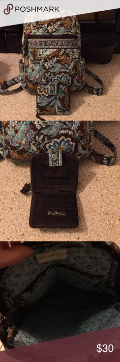 Vera Bradley Backpack with Mini Wallet Pretty Brown and Aqua Pattern! Wallet is in EUC. Bag has some very slight fading at top (in my opinion) and other lite signs of wear but lots of life left. Bargain priced! Vera Bradley Bags Backpacks