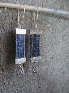 ** Recycled Denim Earrings Jewelry @poullettesafran #JewelryIdeas