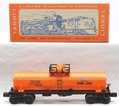 Lionel postwar prototype 6315-60 orange Gulf tank car in OB.  The Gulf logo is a decal rather than the regular production rubber-stamped version.  The car has never been run, C9-10.  The OB has all flaps attached.
