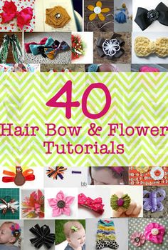 40 Hair bow and flower tutorials--boy, I could have used this when I was making baby barrettes! Do It Yourself Design, Do It Yourself Baby, Do It Yourself Inspiration, Do It Yourself Fashion, Style Inspiration, Crafts To Make, Fun Crafts, Crafts For Kids, Hair Bow Tutorial