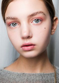 August beauty-pink eyeshadow and feathered brows
