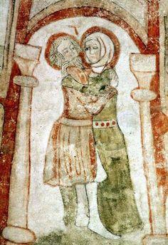 Motiv:mötet i Gyllene porten Landskap, ort:Blekinge, Sölvesborg 1450-1475