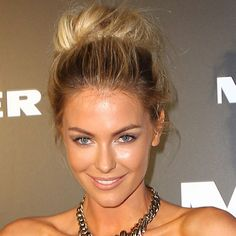 easy teased bun and nude and glowing makeup, so pretty and perfectly do able