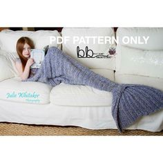 Mermaid Tail Blanket PATTERN ONLY Crochet by BeccasBeanies
