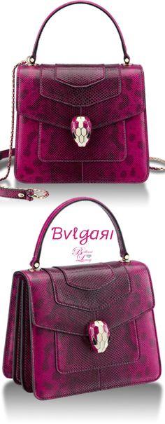 Bvlgari Serpenti Forever Top Handle Bag in berry tourmaline shiny karung skin