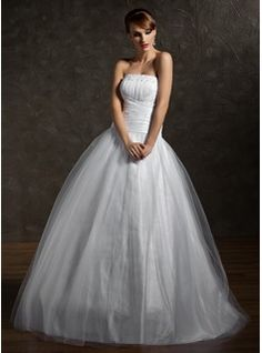 A-Line/Princess Strapless Floor-Length Taffeta  Tulle Quinceanera Dresses With Ruffle  Beading (021002869)