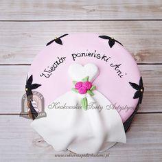 122BA. Tort na wieczór panieński suknia ślubna zdobiony kwiatkami. Bridal shower/ bachelorette party dress cake.