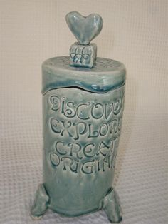 """"""" LOVE """" wishing box    hand built pottery  with message"""