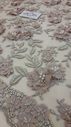 Luxury 3D  brown  flower lace fabric pearl beaded hand made