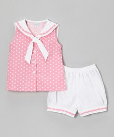 Look what I found on #zulily! Pink & White Star Sailor Tunic & Bloomers - Infant & Toddler #zulilyfinds