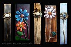Create some beautiful yard art. Use a thin piece of wood and some garden stones and create pretty garden art for your backyard fence or your garden. use or some other outdoor adhesive to make these stick and hold up through rainy, wet weather. Stone Crafts, Rock Crafts, Arts And Crafts, Diy Crafts, Bead Crafts, Sewing Crafts, Paper Crafts, Outdoor Crafts, Outdoor Art
