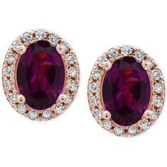 Effy Bordeaux Rhodolite Garnet (1-1/10 ct. t.w.) and Diamond (1/8 ct. (2.030 RON) ❤ liked on Polyvore featuring jewelry, earrings, accessories, studs, rose gold, diamond earrings, garnet earrings, 14 karat gold stud earrings, diamond jewelry and round earrings