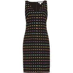 Diane Von Furstenberg Minetta dress ($185) ❤ liked on Polyvore featuring dresses, black multi, sleeveless shift dress, boucle dress, diane von furstenberg, diane von furstenberg dress and print dress