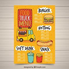 Hand drawn food truck menu with fast food Free Vector Cafe Menu Design, Menu Card Design, Food Menu Design, Food Poster Design, Food Truck Design, Restaurant Menu Design, Restaurant Identity, Stationery Design, Restaurant Restaurant