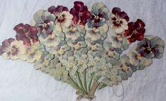 "Rare Antique Victorian Trade Card Fan ""To Greet My Love"" Floral Antique Fans, Vintage Fans, Rare Antique, Retro Vintage, Victorian Era, Victorian Decor, Vintage Labels, Old Antiques, Flowers"