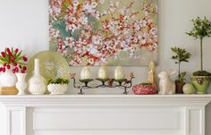 milkglass, pretty flowers, colors, inspiration for what to do with the mantle