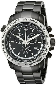 Swiss Legend Men's 10013-BB-11-SB World Timer Collection Chronograph Stainless Steel Watch